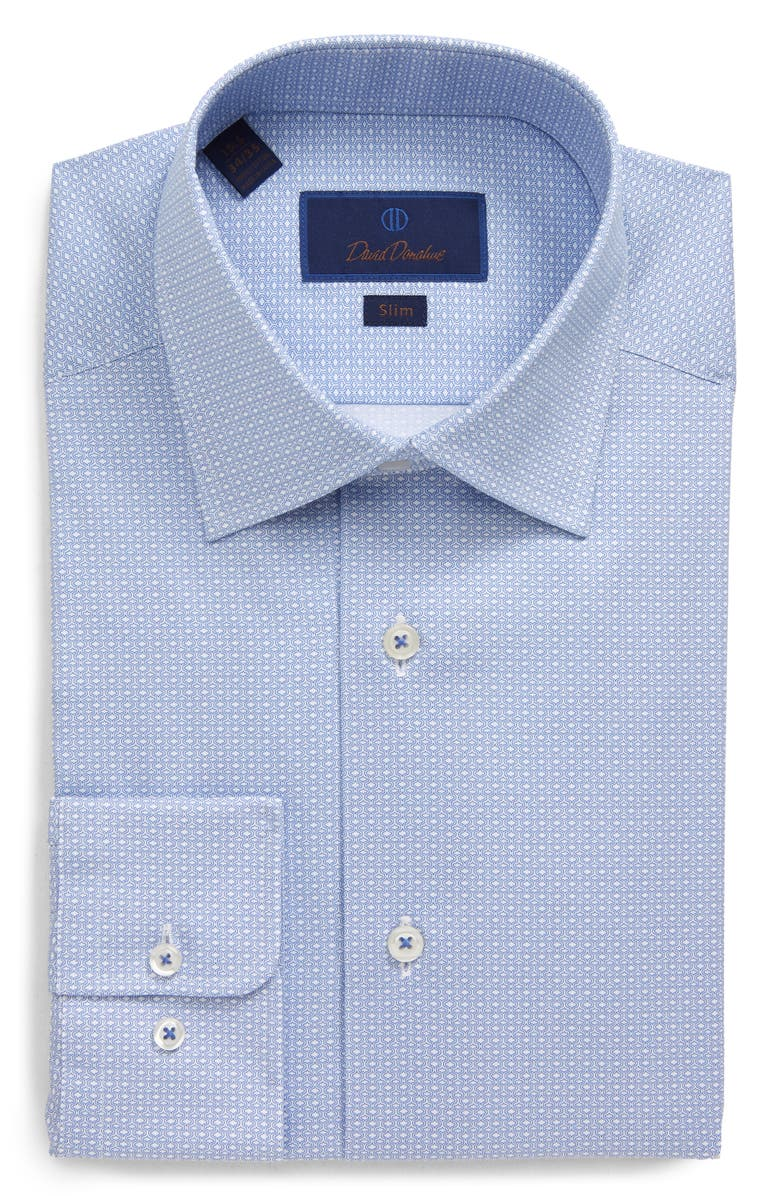 DAVID DONAHUE Slim Fit Geometric Dress Shirt, Main, color, WHITE/BLUE