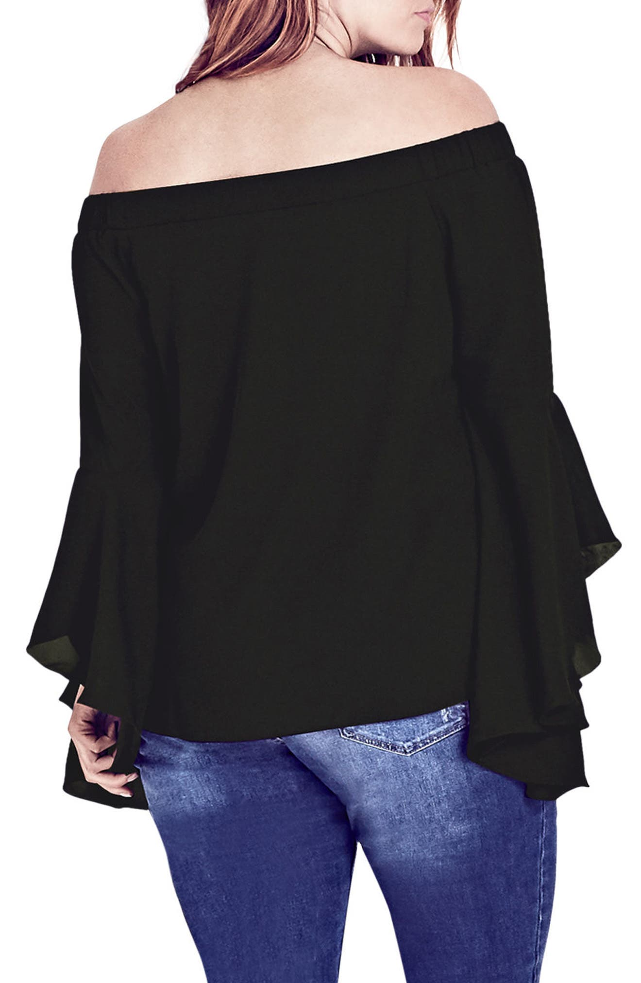 ,                             Romantic Off the Shoulder Bell Sleeve Top,                             Alternate thumbnail 2, color,                             BLACK