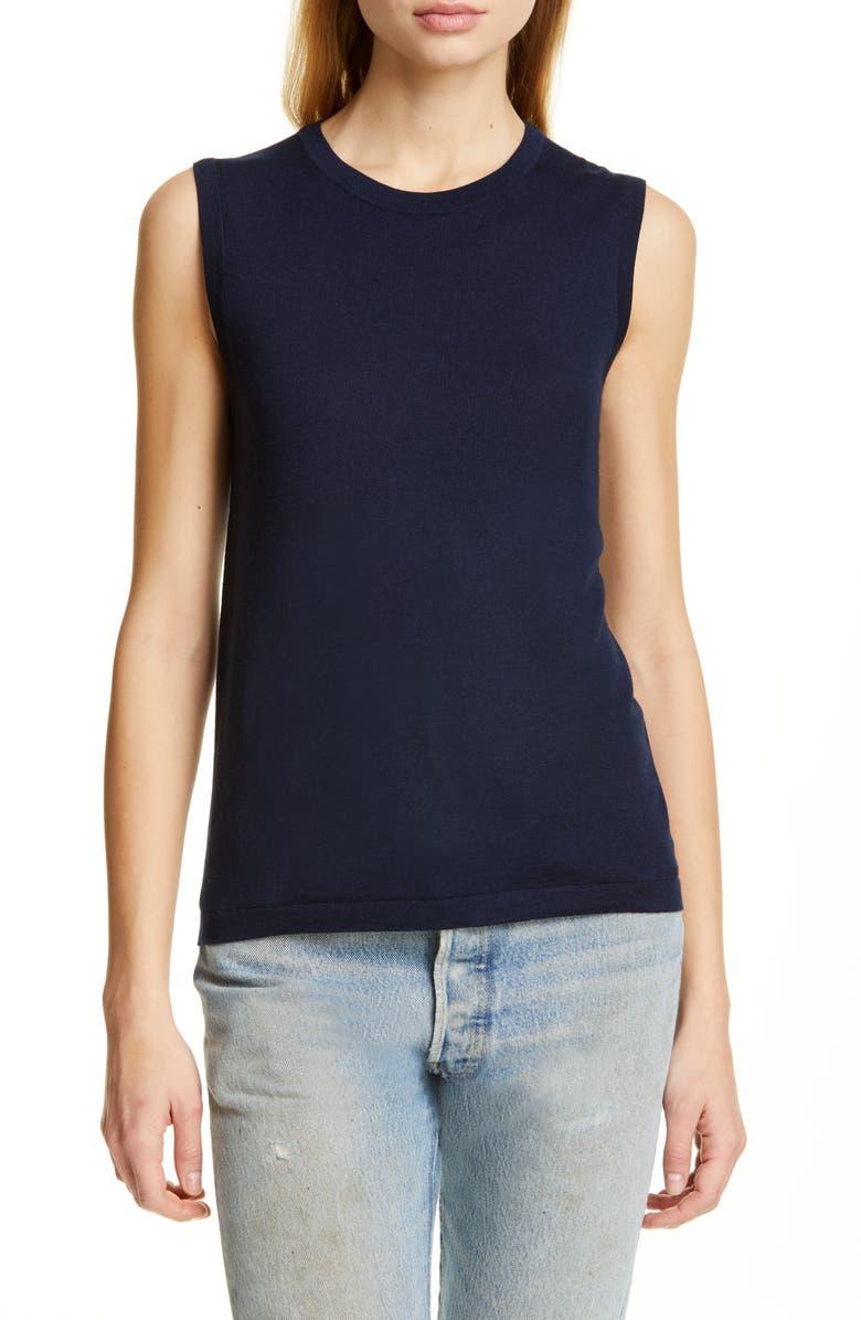 JENNI KAYNE Merino Wool Sleeveless Sweater, Main, color, NAVY