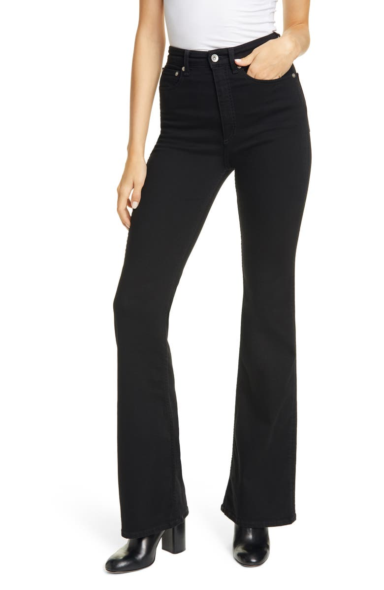 RAG & BONE Jane Super High Waist Flare Jeans, Main, color, 001