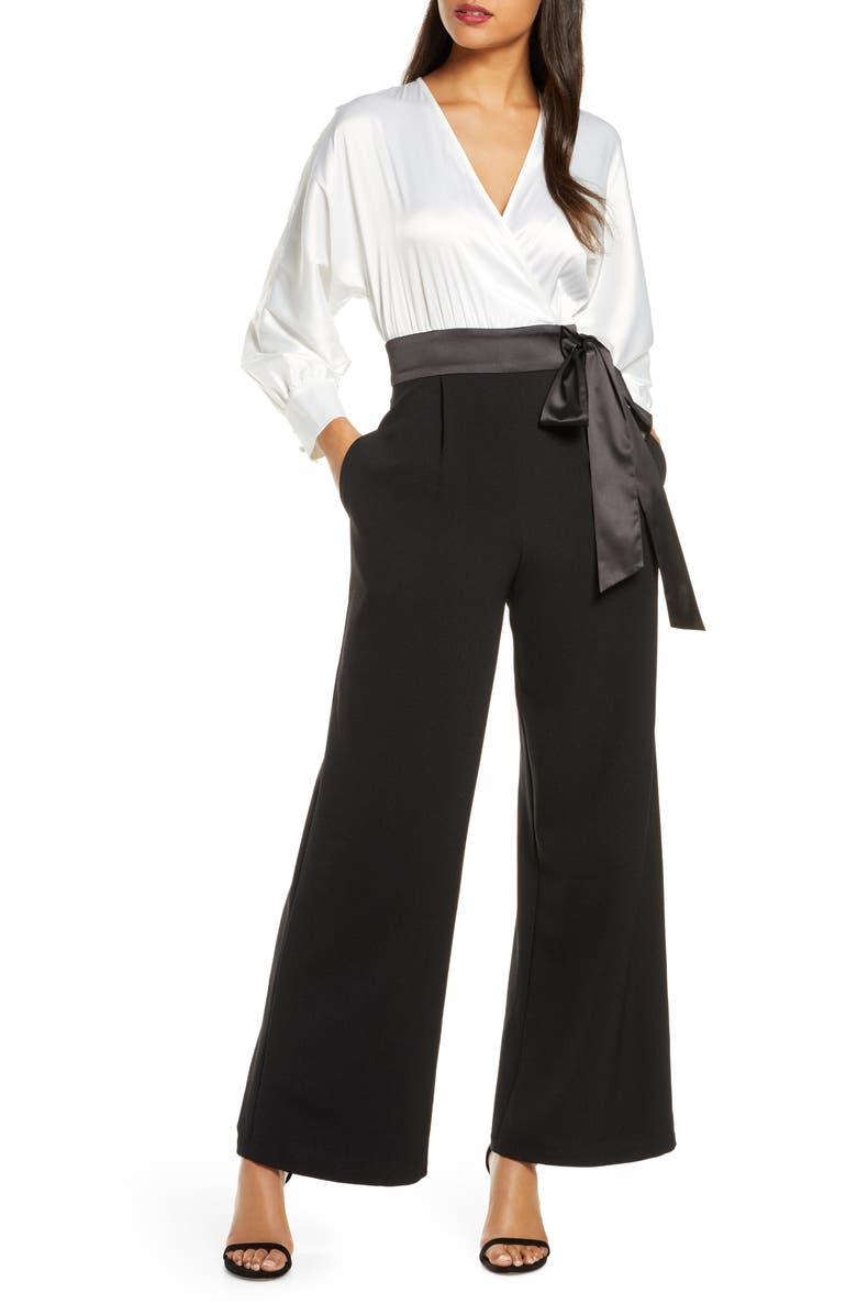 ELIZA J Long Sleeve V-Neck Satin Bodice Jumpsuit, Main, color, WHITE/ BLACK