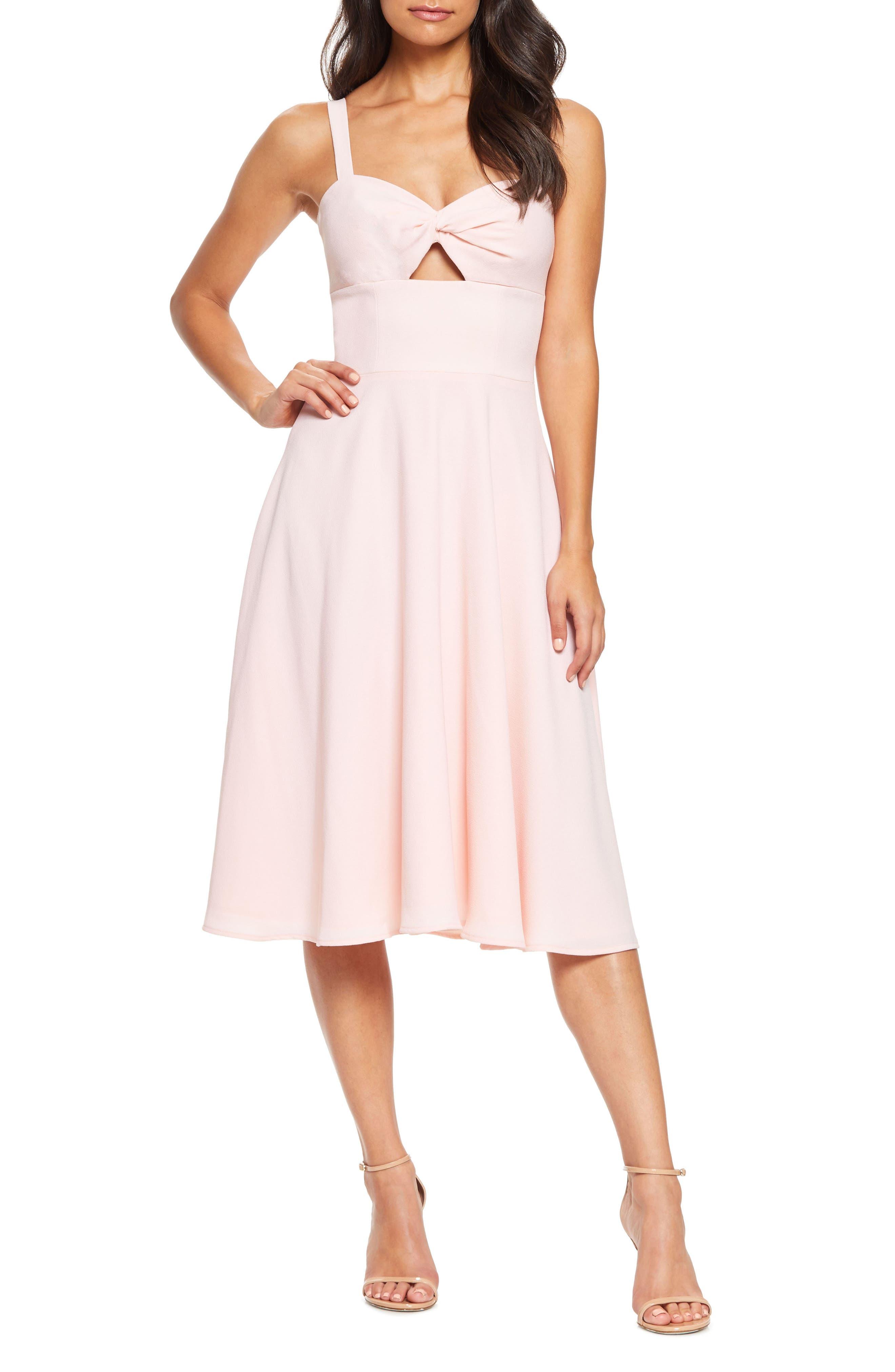 Dress The Population Bianca Sweetheart Midi Cocktail Dress, Pink