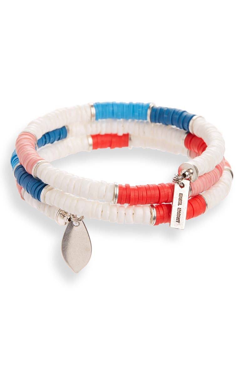 ISABEL MARANT Beaded Wrap Bracelet, Main, color, PINK/ SILVER