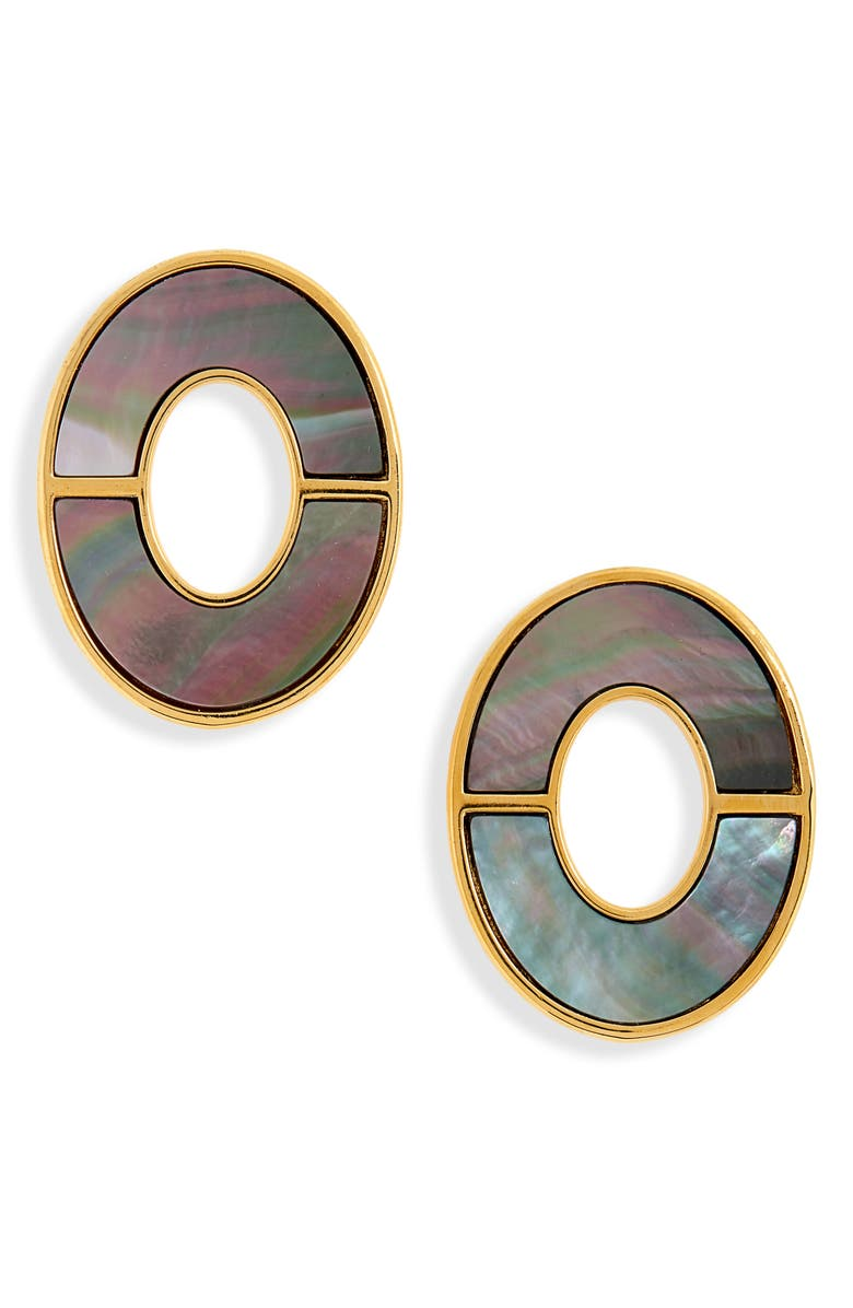 LIZZIE FORTUNATO Symmetry Earrings, Main, color, GOLD/ BLACK MOTHER OF PEARL