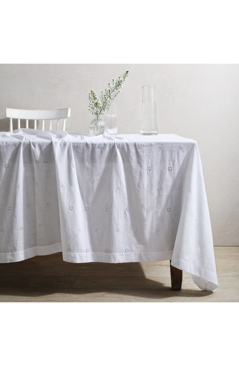 THE WHITE COMPANY Broderie Anglaise Tablecloth, Main, color, WHITE