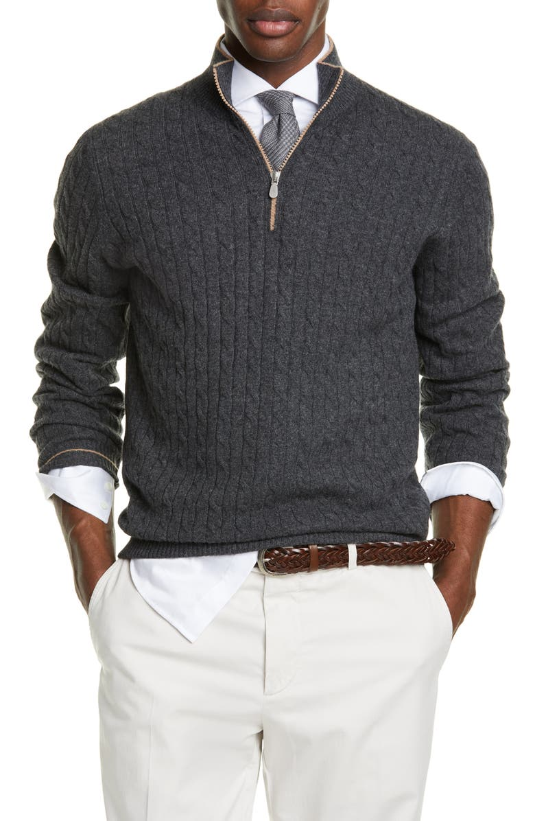 BRUNELLO CUCINELLI Slim Quarter Zip Cashmere Sweater, Main, color, VOLCANO