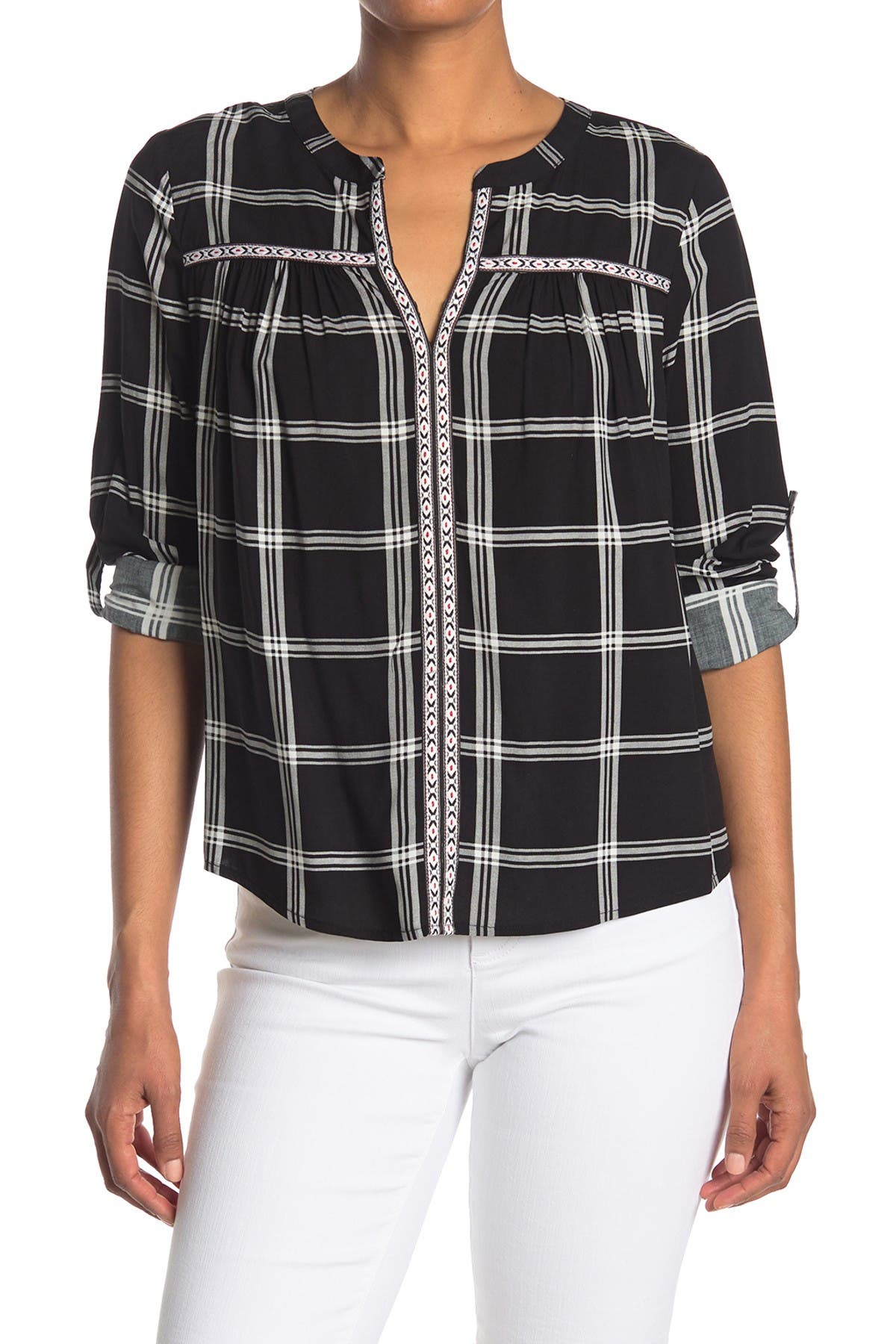 Image of DR2 by Daniel Rainn Window Pane Notched Quarter Sleeve Blouse