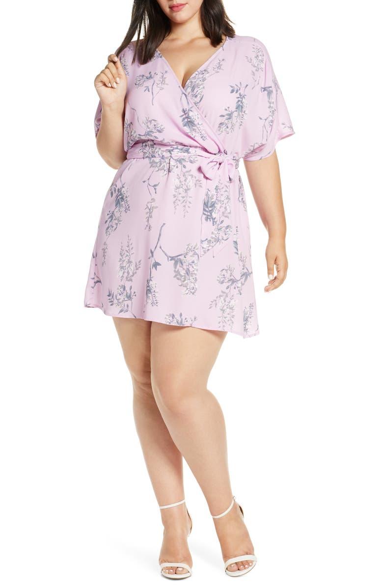 LEITH Dolman Sleeve Wrap Minidress, Main, color, PINK BOUQUET FLORAL TRAIL
