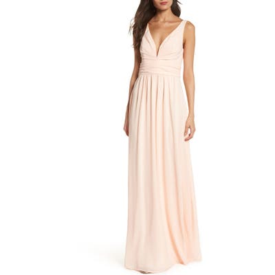 Lulus V-Neck Chiffon Gown, Pink