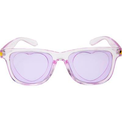Rad + Refined Tinted Heart Translucent Sunglasses - Purple