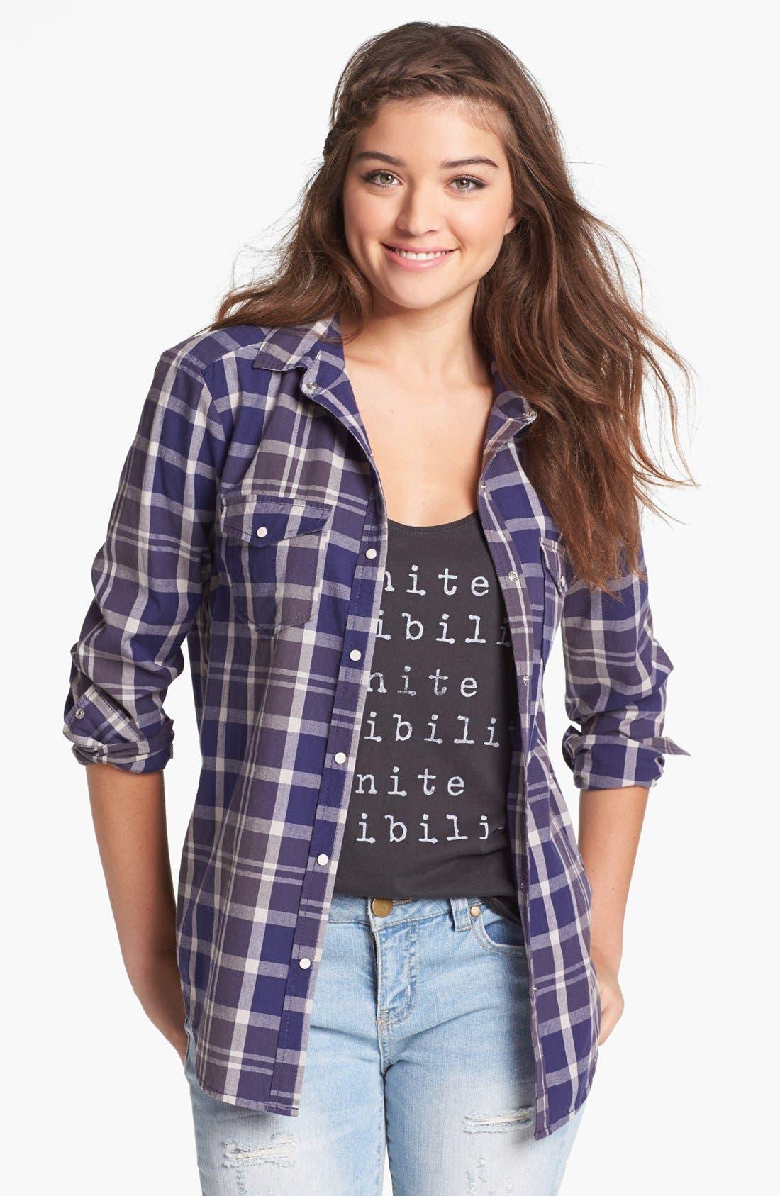 ,                             Plaid Shirt,                             Main thumbnail 1, color,                             401