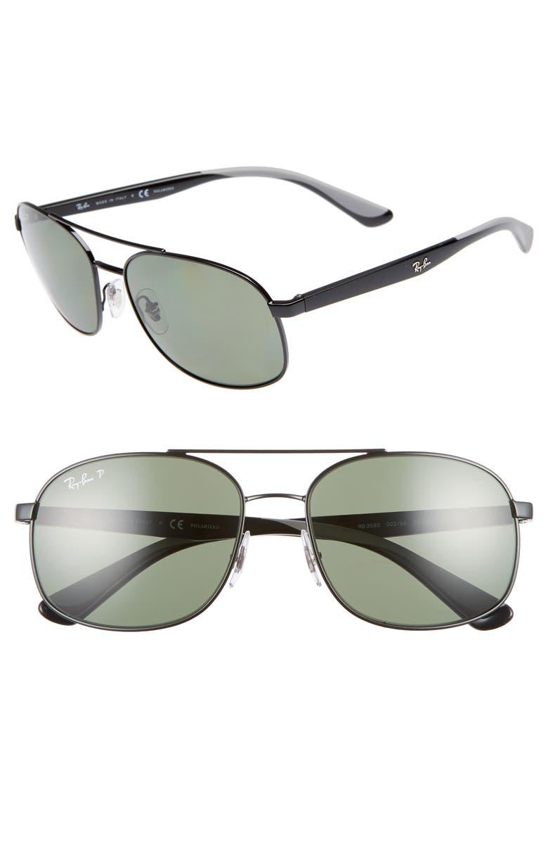 RAY-BAN 58mm Navigator Sunglasses, Main, color, 001