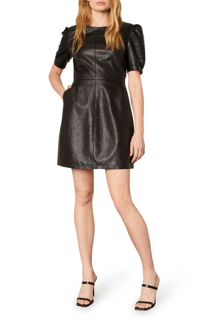 Cupcakes And Cashmere MAGGIE FAUX LEATHER MINIDRESS