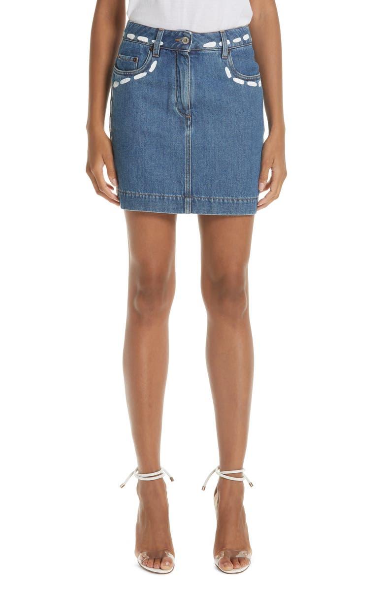 MOSCHINO Dotted Line Denim Miniskirt, Main, color, 469