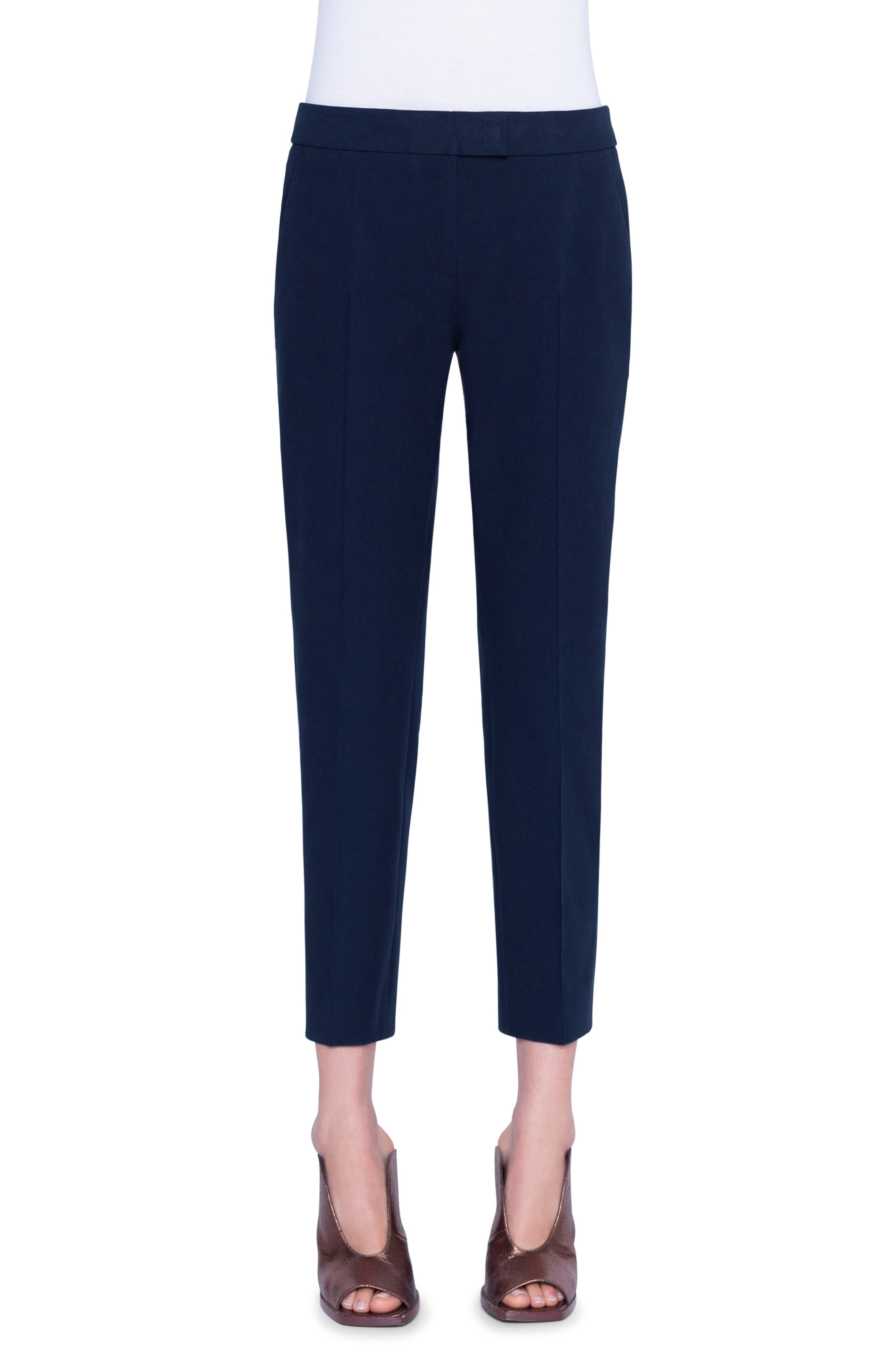 Women's Akris Punto Frankie Stretch Cotton Pants,  12 - Blue
