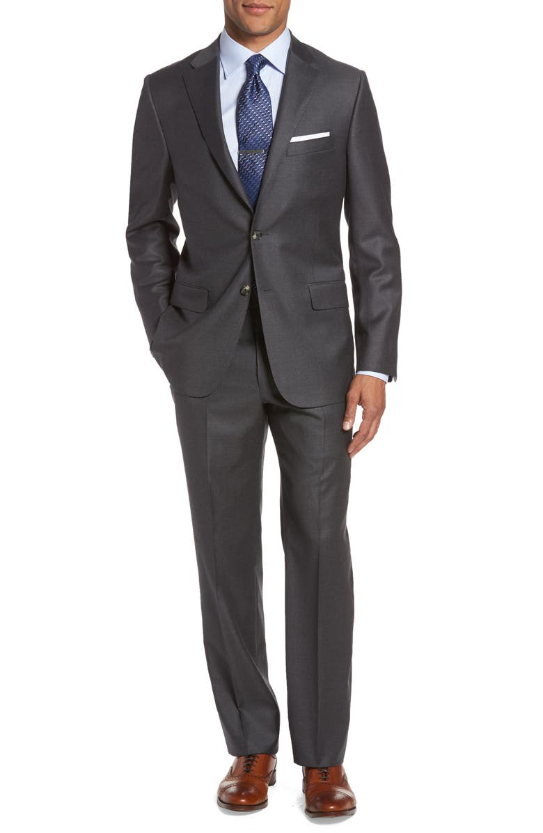 HICKEY FREEMAN Classic B Fit Loro Piana Wool Suit, Main, color, 020