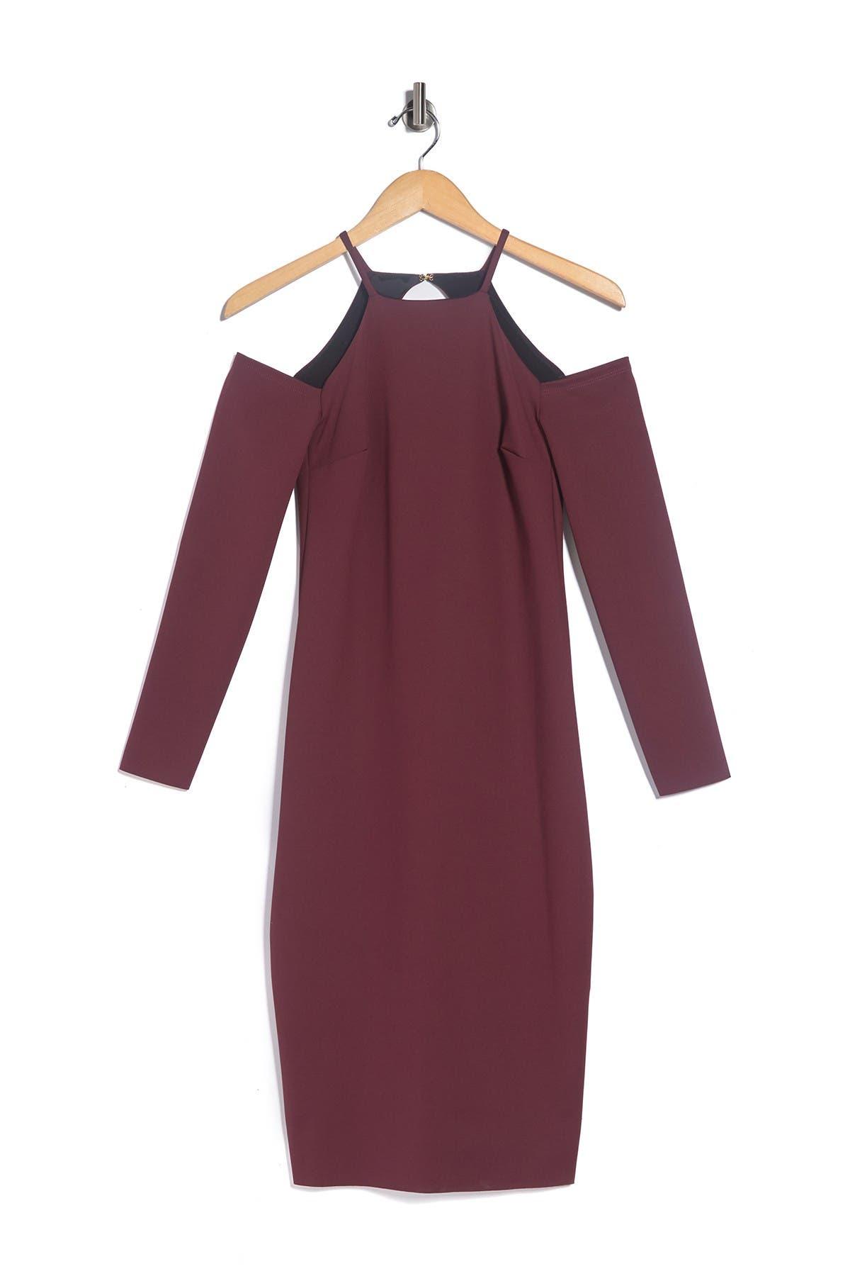 Image of Trina Turk Lu Lu Cold Shoulder Long Sleeve Sheath Dress