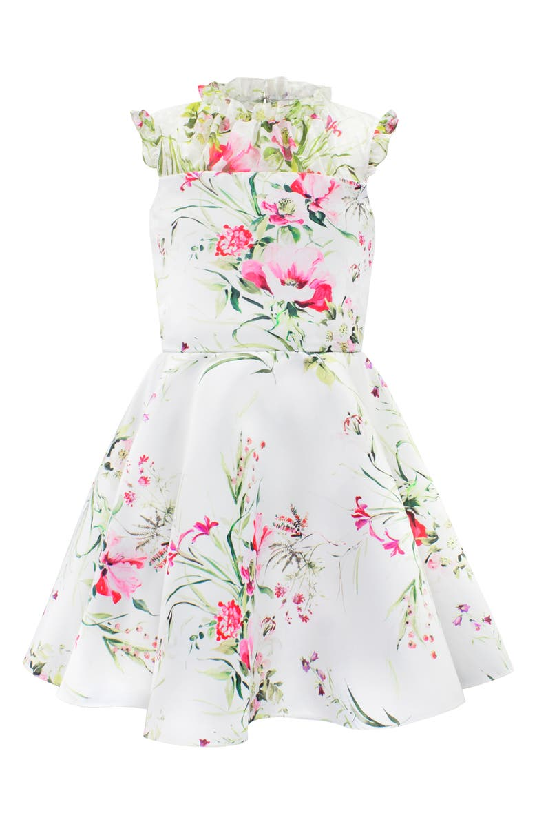 DAVID CHARLES Floral Print Satin & Swiss Dot Party Dress, Main, color, 900