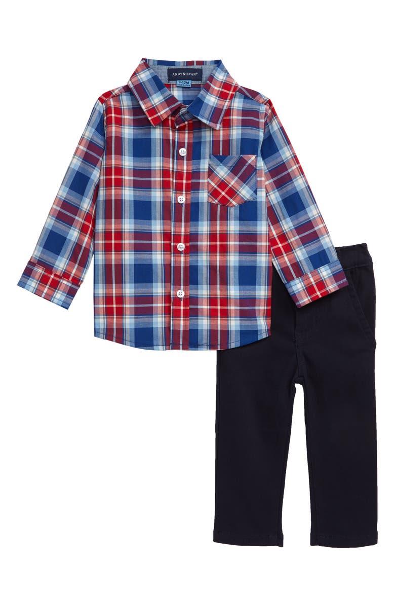 ANDY & EVAN Plaid Shirt & Pants Set, Main, color, RED/NAVY STRIPE