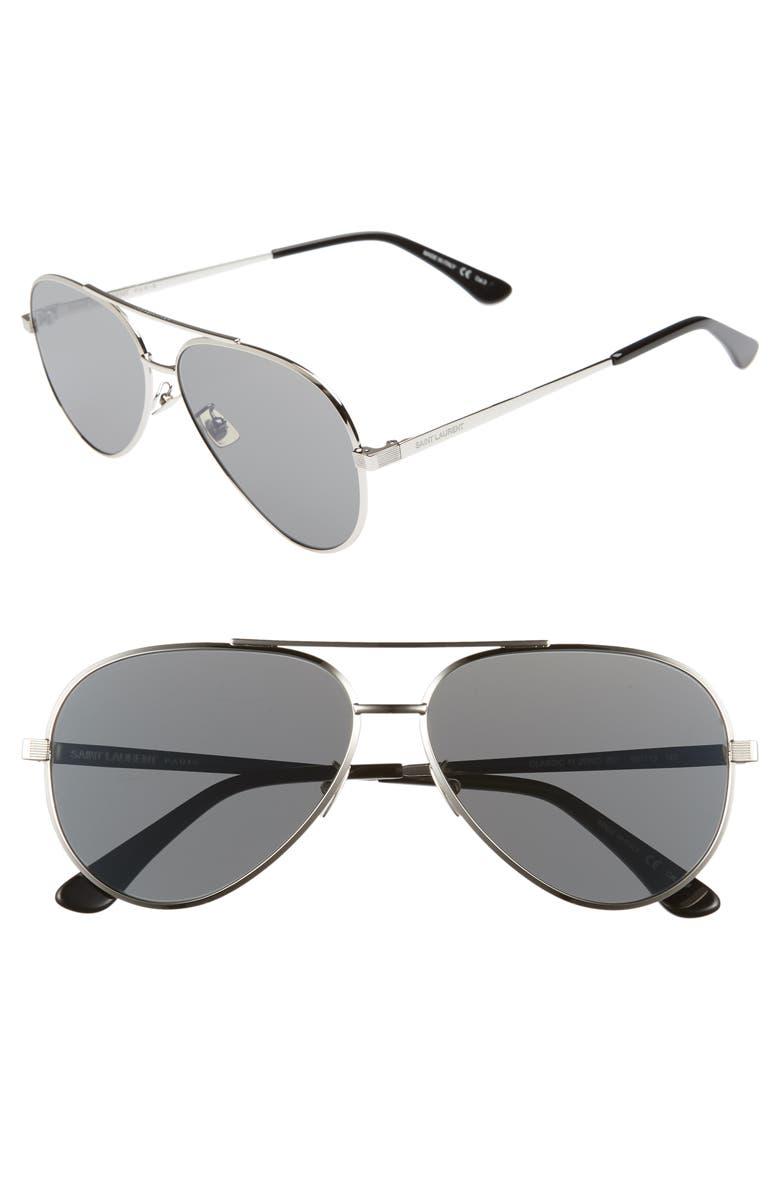 SAINT LAURENT Classic 11 Zero 60mm Aviator Sunglasses, Main, color, 040