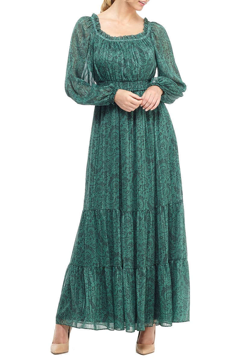 GAL MEETS GLAM COLLECTION Laurel Print Long Sleeve Chiffon Maxi Dress, Main, color, EMERALD