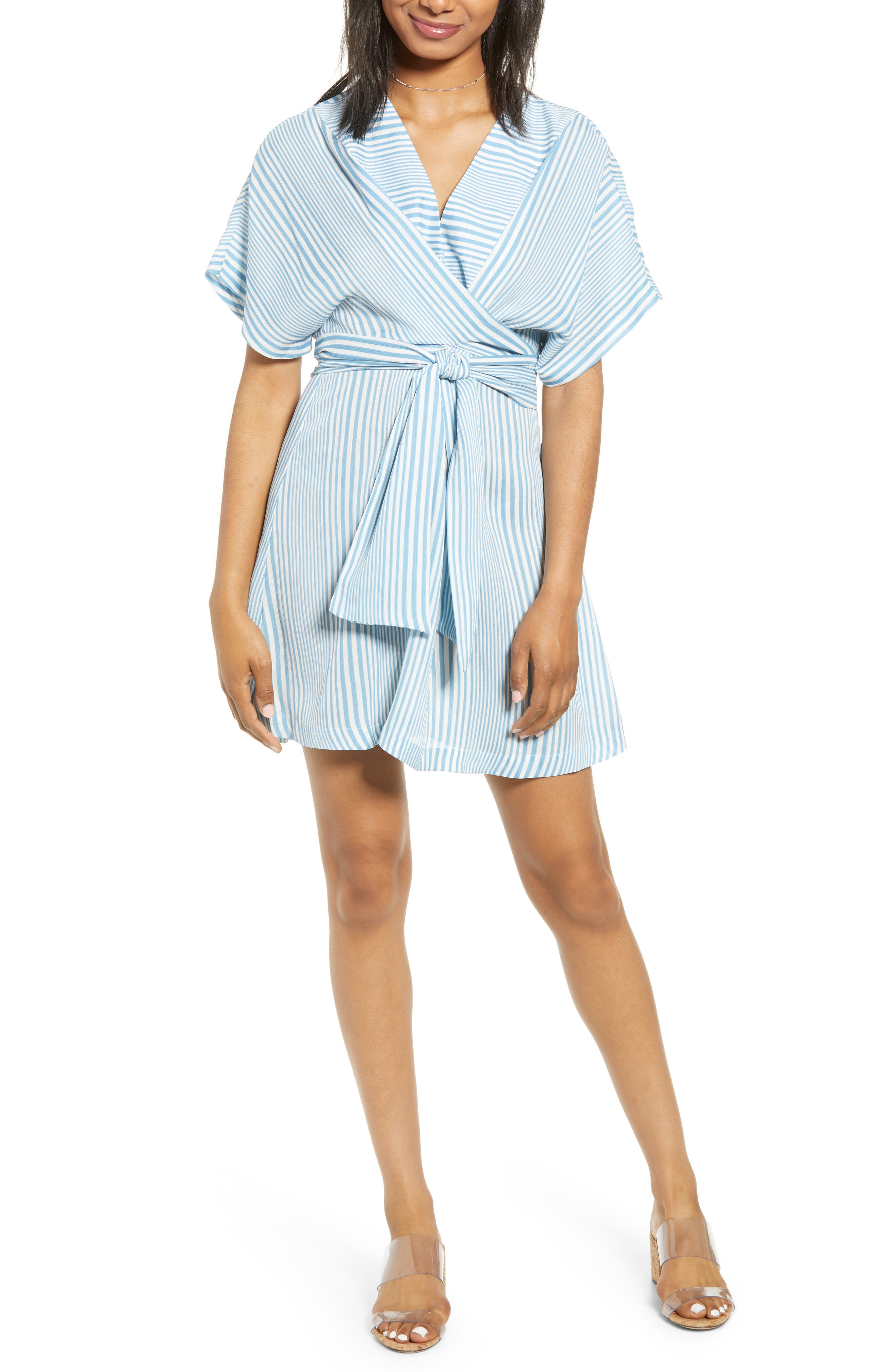 Moon River Stripe Tie Waist Minidress, Blue
