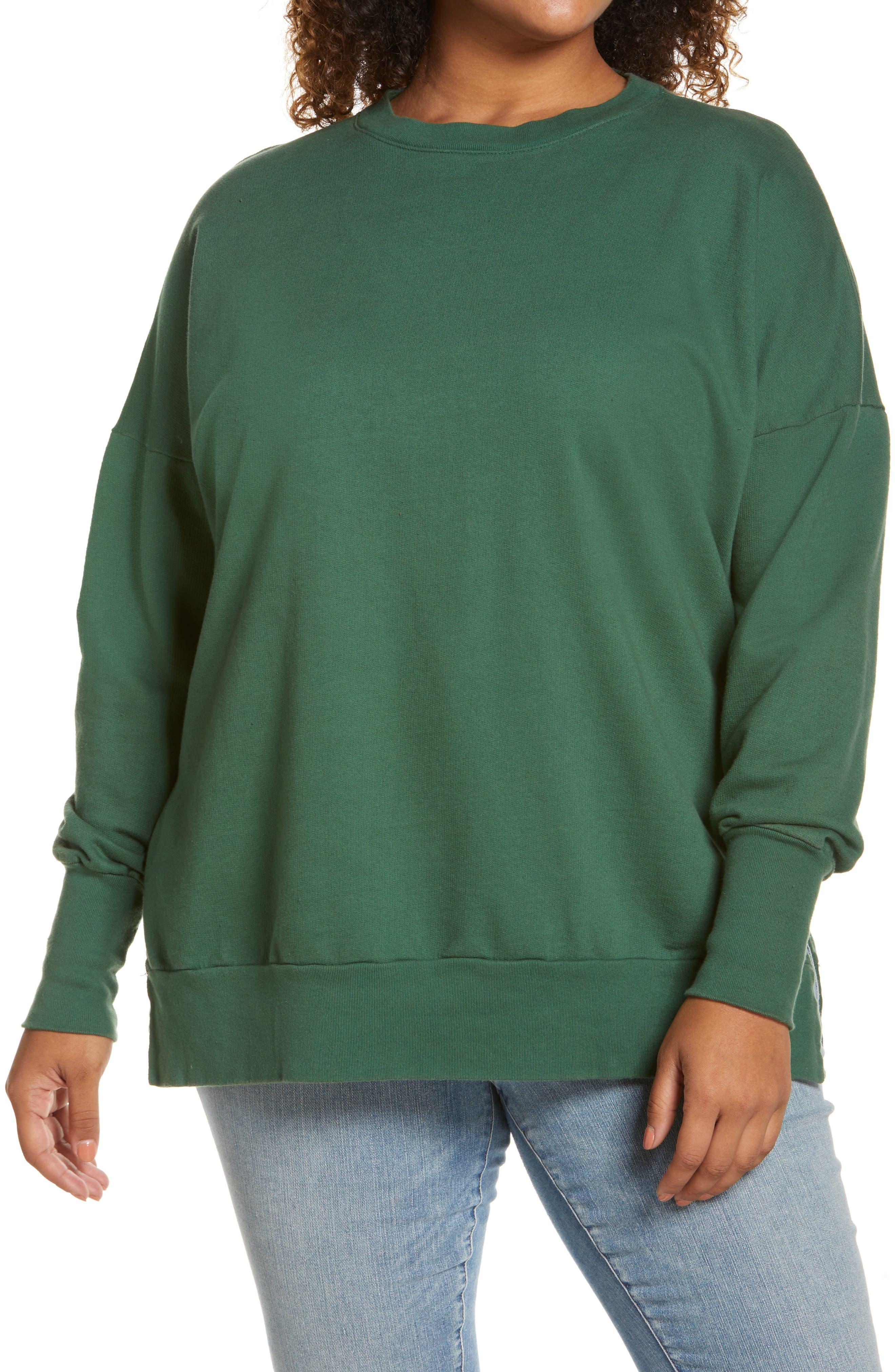 Plus Size Women's Caslon Side Slit Tunic Sweatshirt