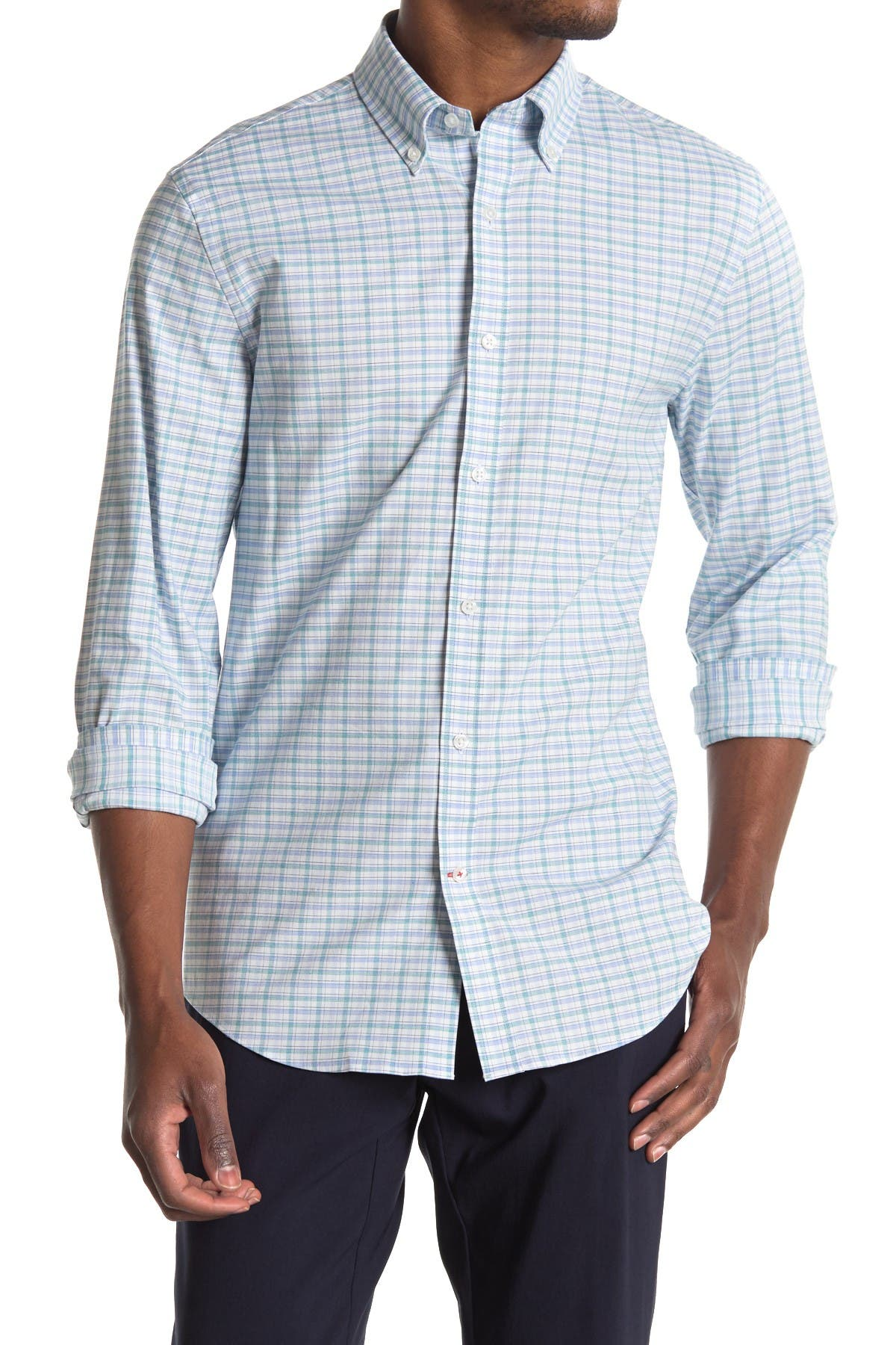 Image of Tommy Hilfiger Slim Fit Plaid Dress Shirt