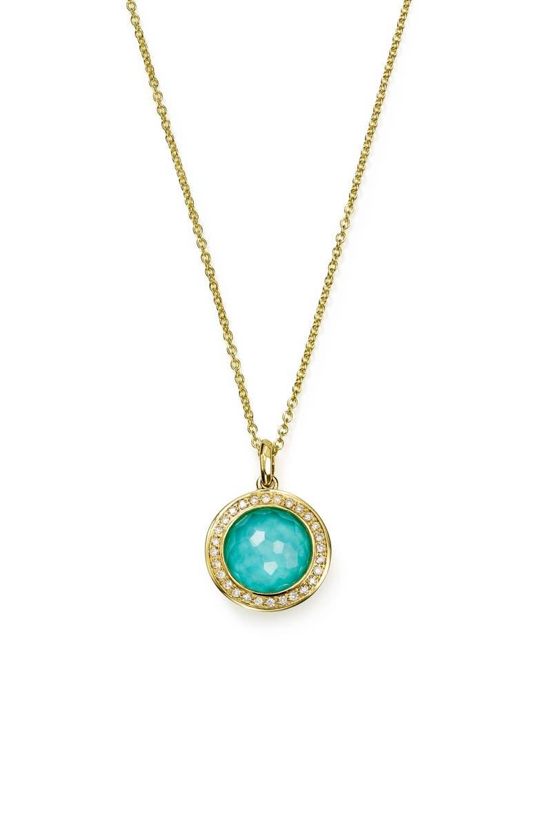 IPPOLITA Lollipop Mini Pendant Diamond Necklace, Main, color, TURQUOISE