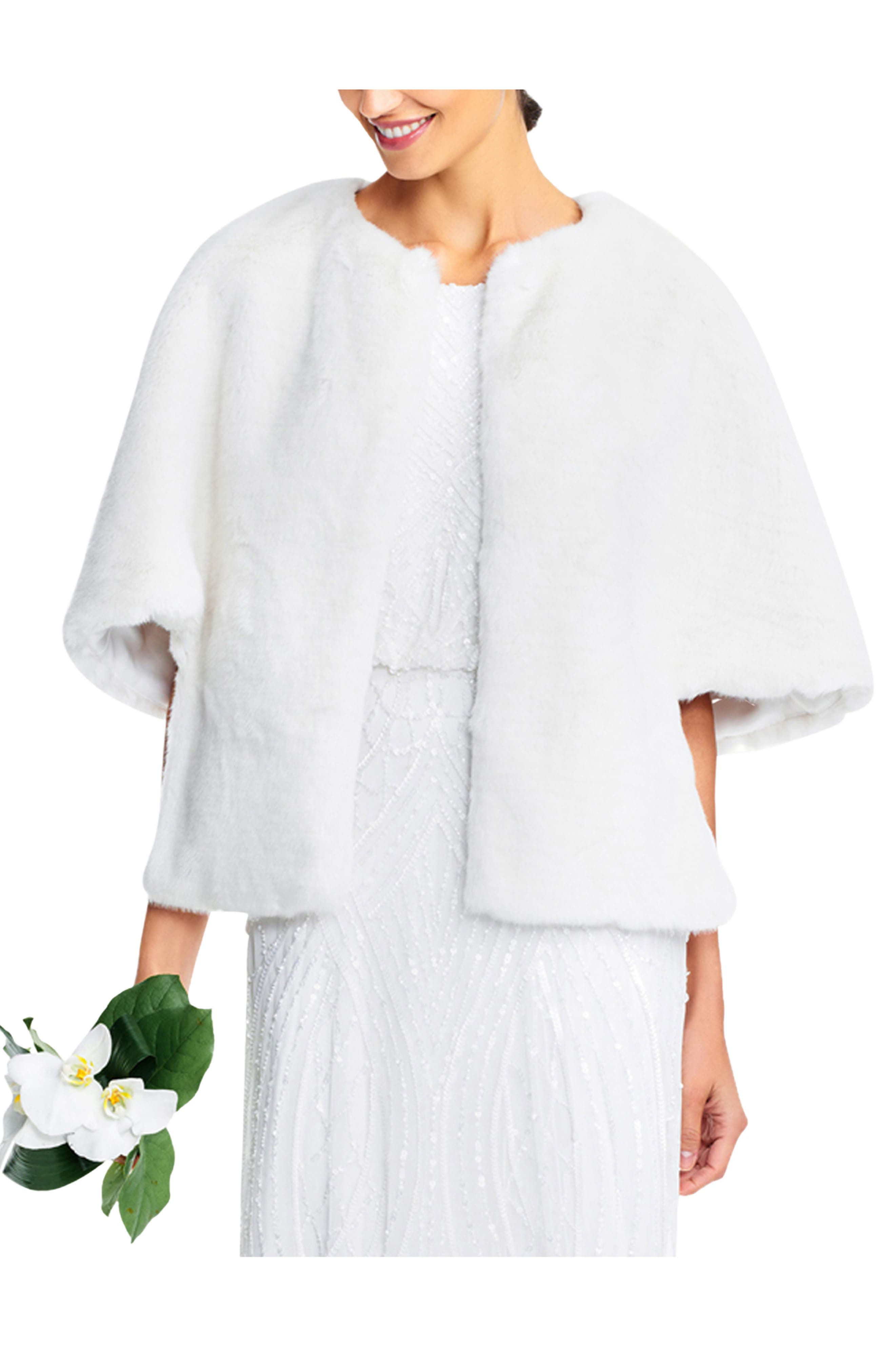 1930s Evening Dresses | Old Hollywood Silver Screen Dresses Womens Adrianna Papell Faux Fur Jacket Size X-Large - White $149.00 AT vintagedancer.com