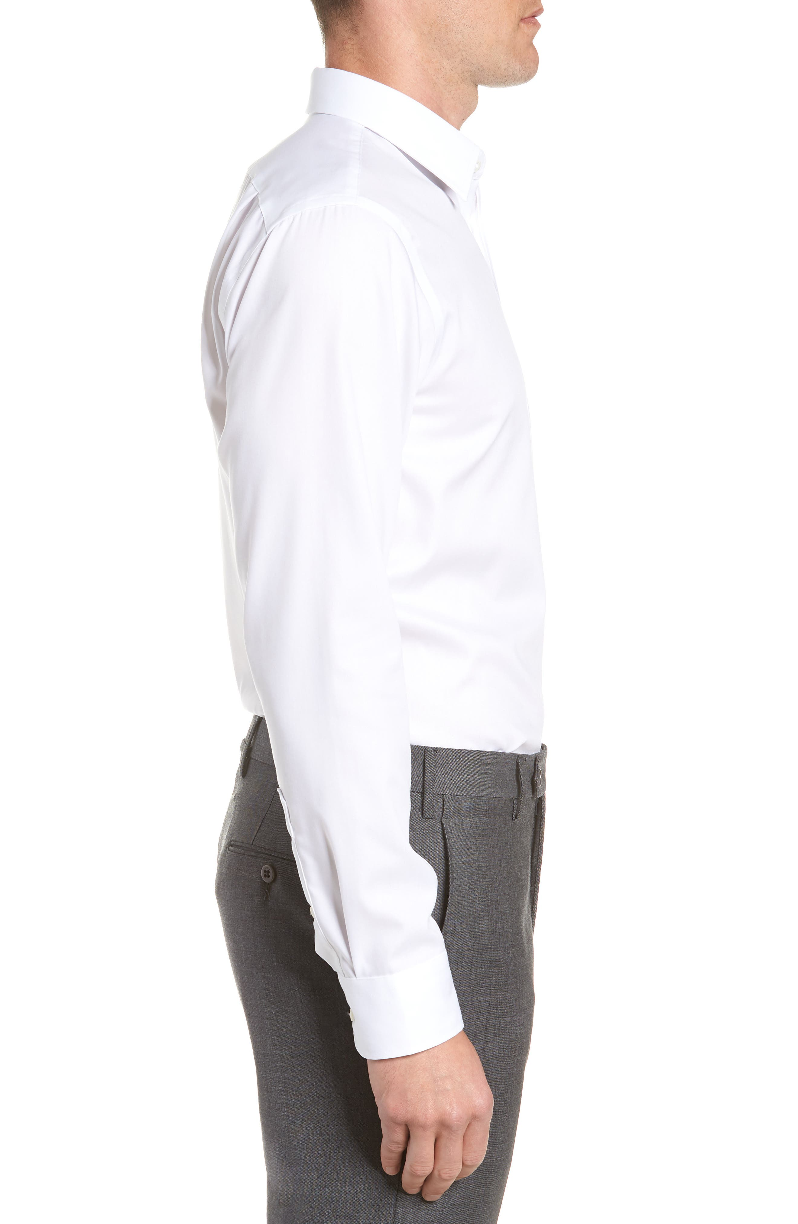 ,                             Trim Fit Non-Iron Dress Shirt,                             Alternate thumbnail 4, color,                             WHITE