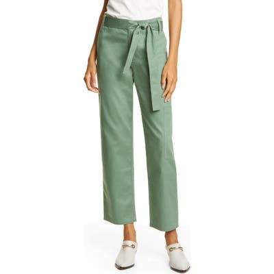 Tibi Crop Cotton Cargo Pants, Green