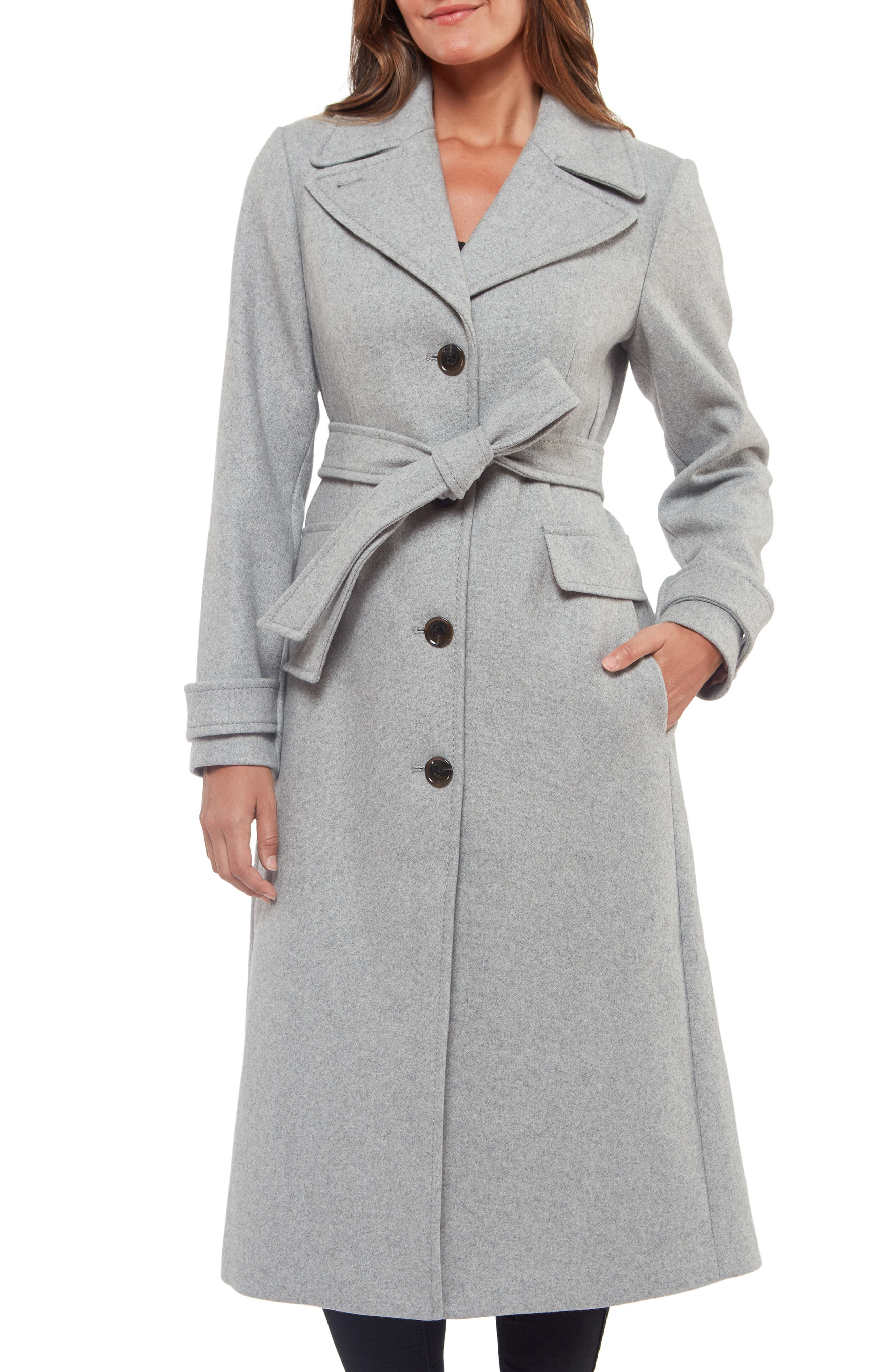 1930s Style Clothing and Fashion Womens Kate Spade New York Belted Wool Blend Coat Size X-Small - Grey $438.00 AT vintagedancer.com