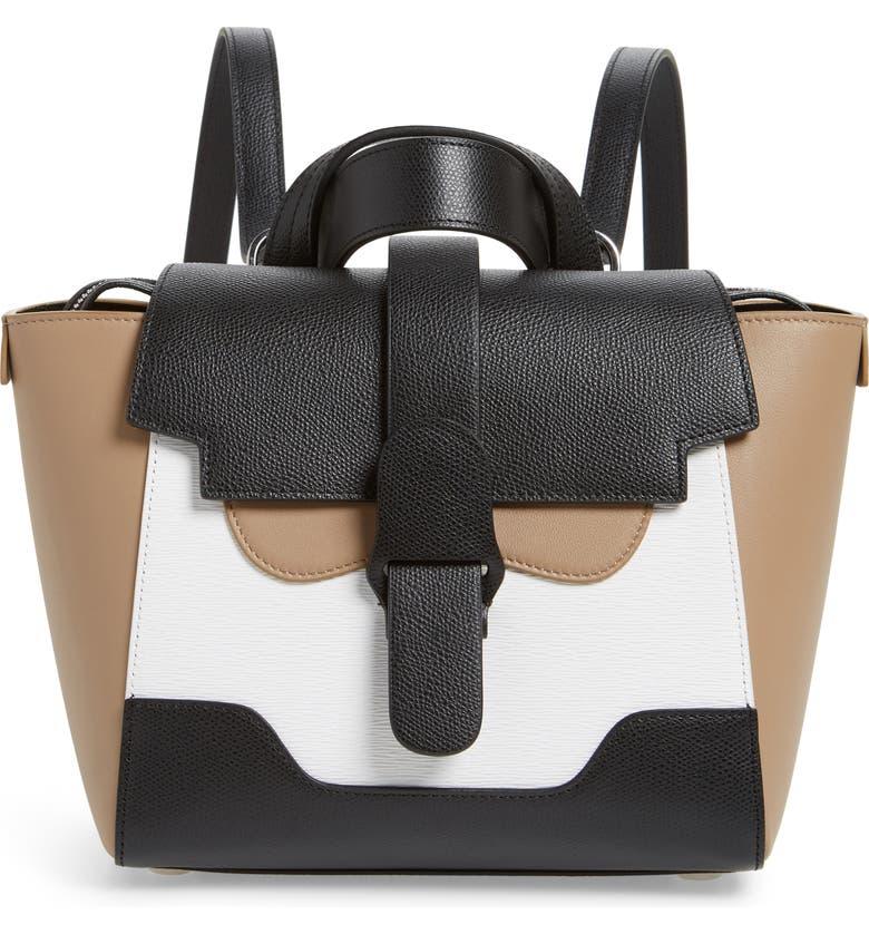SENREVE Mini Maestra Colorblock Leather Satchel, Main, color, BLACK/ WHITE/ CHESTNUT