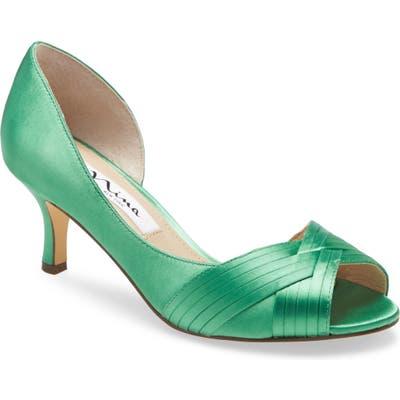 Nina Contesa Open Toe Pump, Green