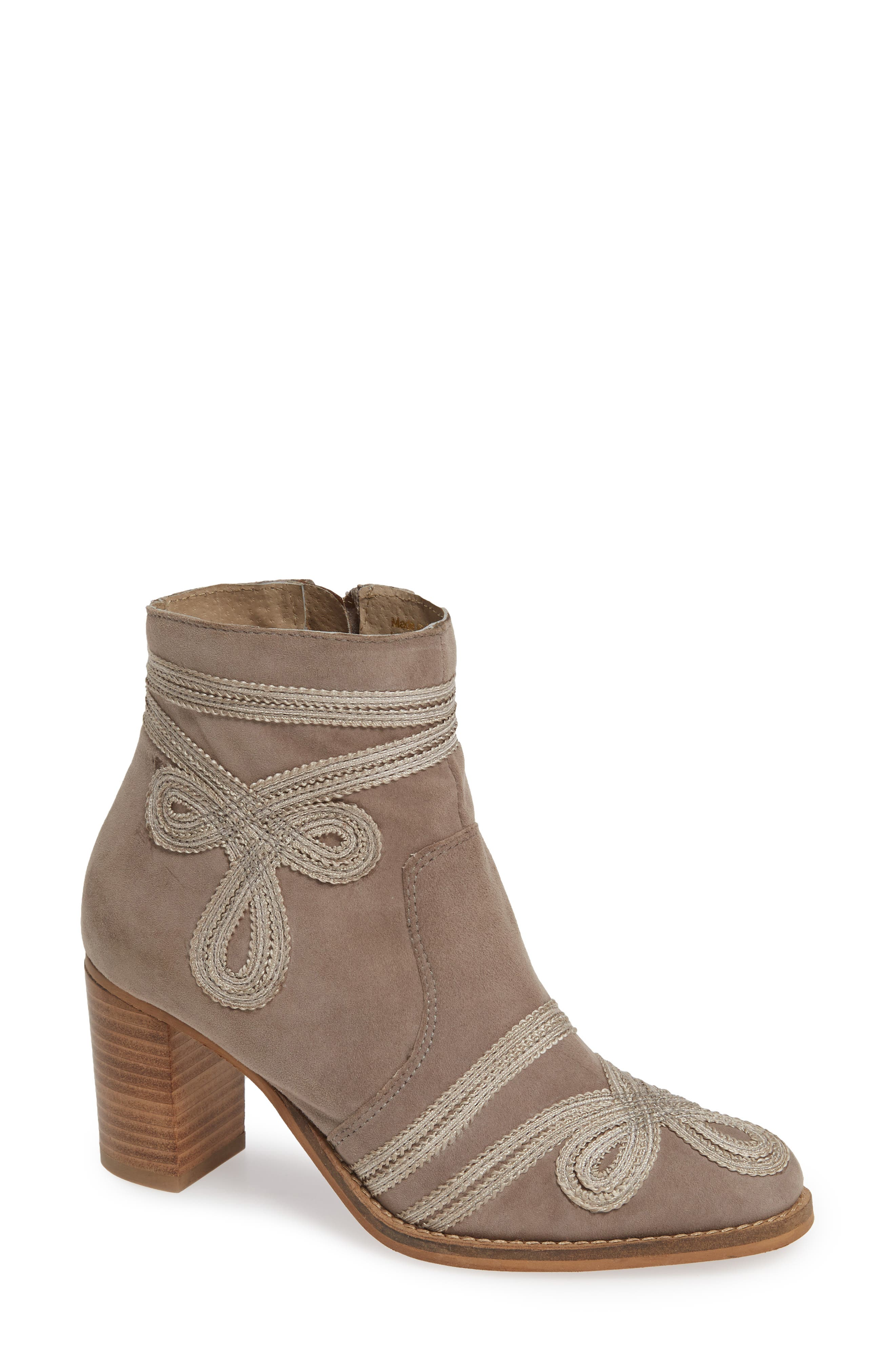 Very Volatile Bordeaux Embroidered Ankle Bootie, Grey