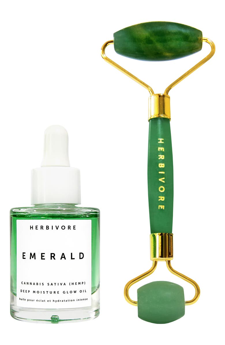 HERBIVORE BOTANICALS Emerald Oil + Jade Roller Glow Ritual Duo, Main, color, 000