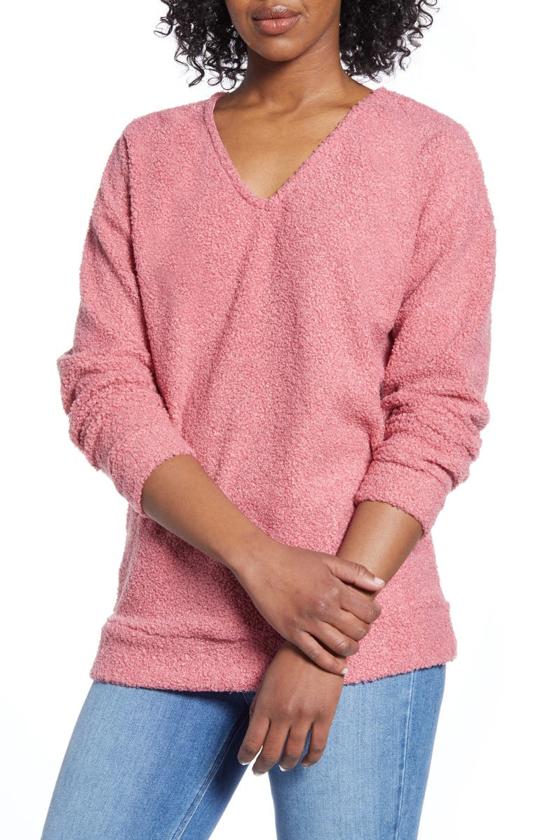 CASLON<SUP>®</SUP> Faux Shearling Teddy Sweater, Main, color, 221