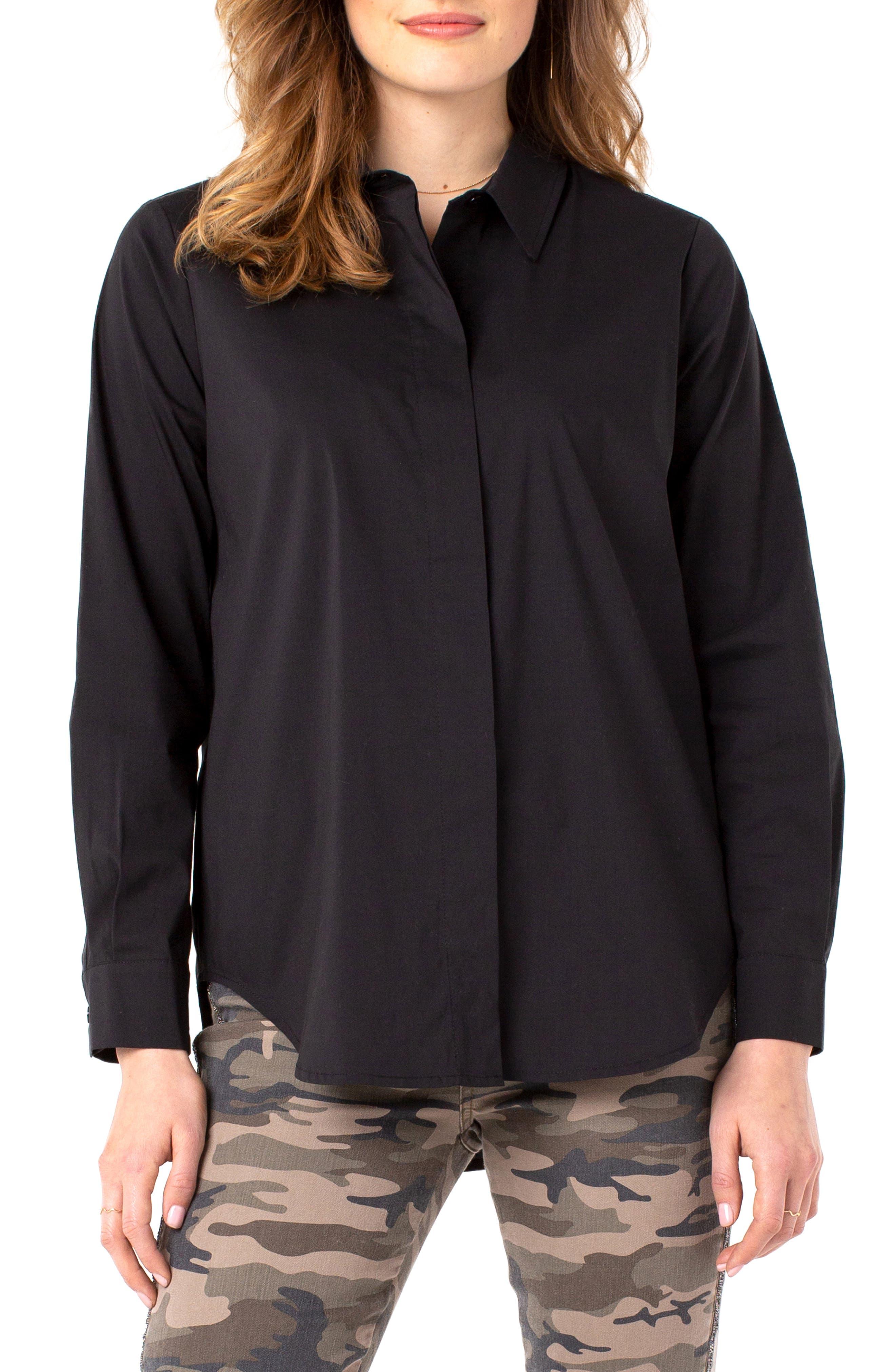 Stretch Cotton Blend Button-Up Shirt