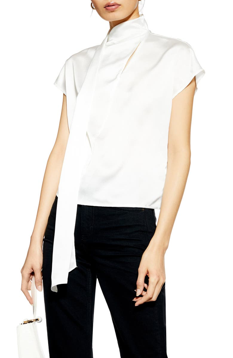 TOPSHOP Drape Blouse, Main, color, IVORY