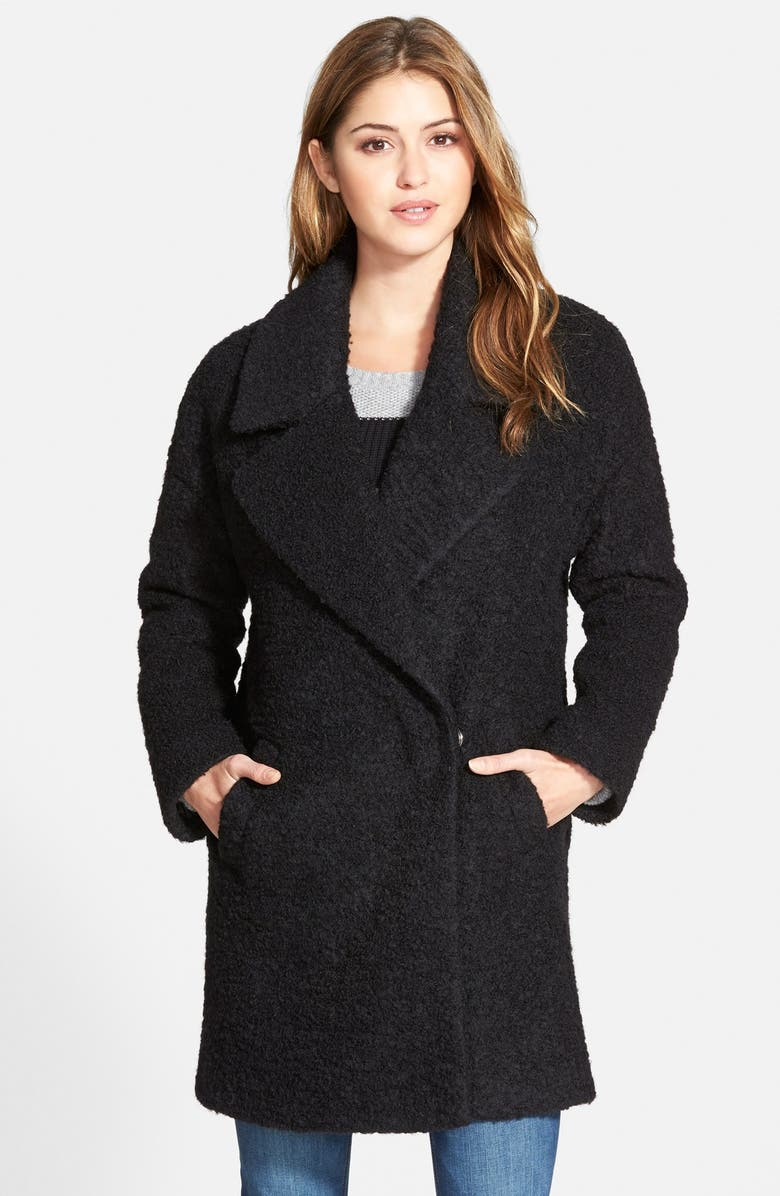 BETSEY JOHNSON Notch Collar Bouclé Coat, Main, color, 001