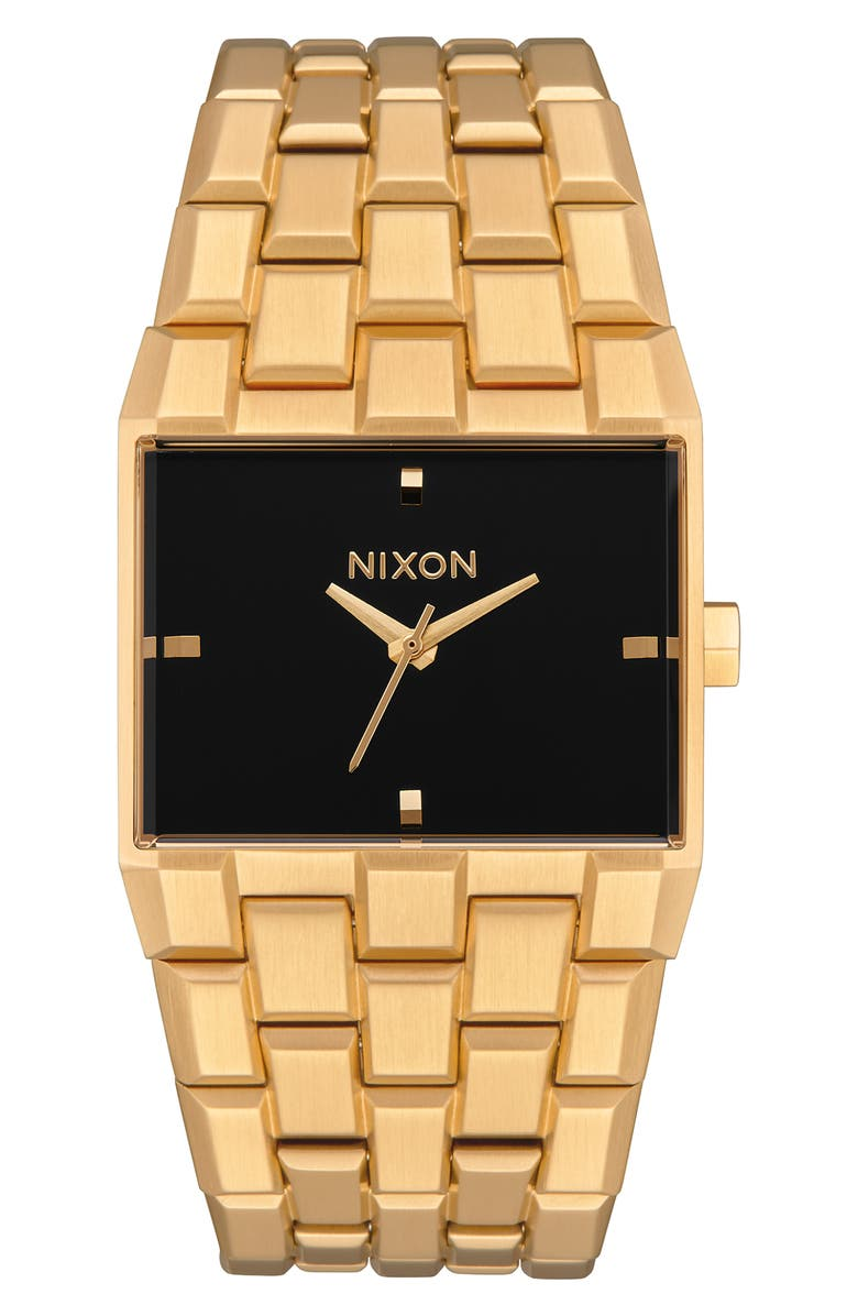 NIXON The Ticket Bracelet Watch, 34mm, Main, color, GOLD/ BLACK/ GOLD