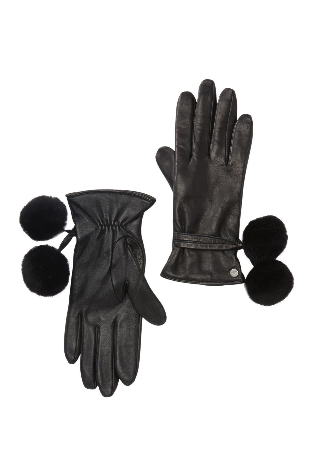 Image of UGG Leather Genuine Shearling Pompom Gloves