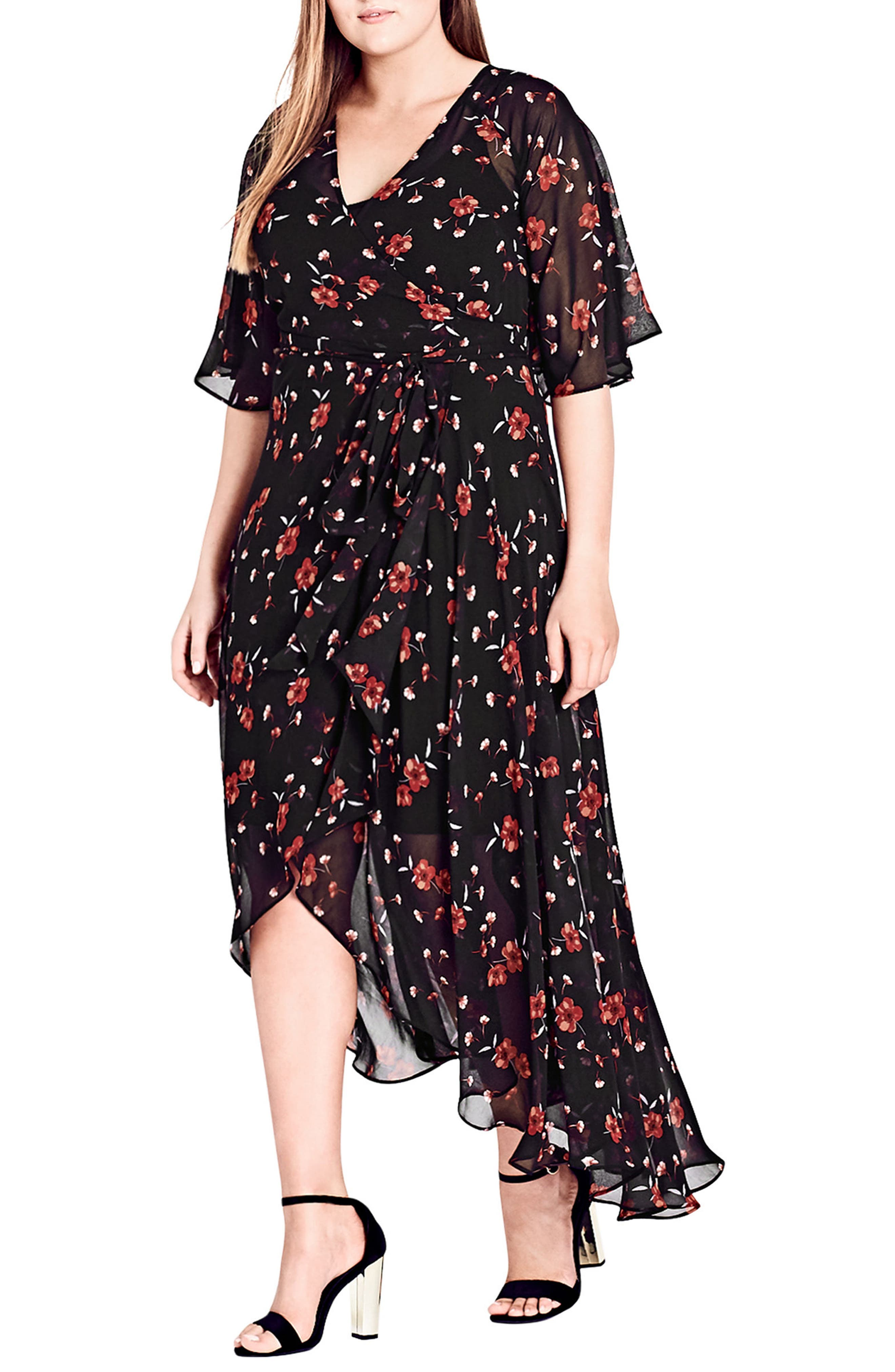 ,                             Fall in Love Floral Maxi Dress,                             Main thumbnail 1, color,                             BLACK
