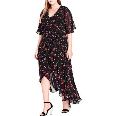 Plus Size City Chic Fall In Love Floral Maxi Dress, Black