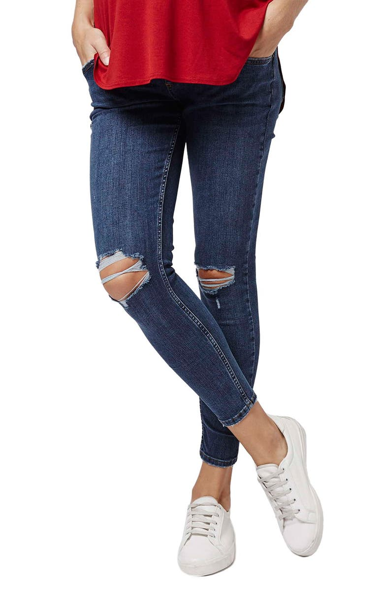 5d5e420ea55d1 Topshop 'Jamie' Ripped Crop Skinny Maternity Jeans | Nordstrom