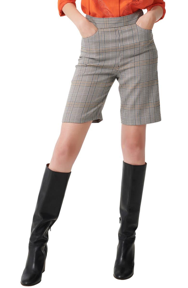 MAJE Check Bermuda Shorts, Main, color, GREY