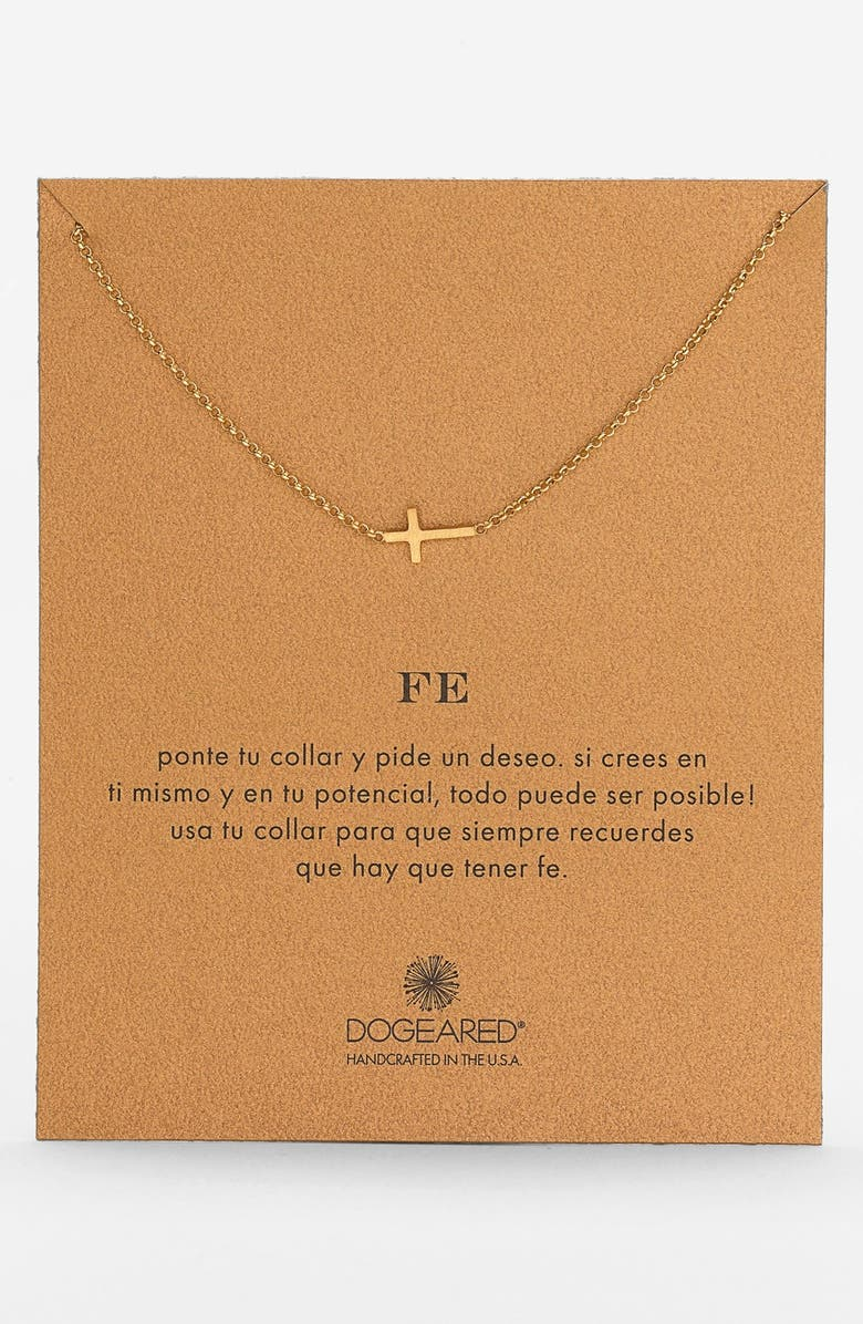 DOGEARED 'Reminder - Fe' Sideways Cross Pendant Necklace, Main, color, 710