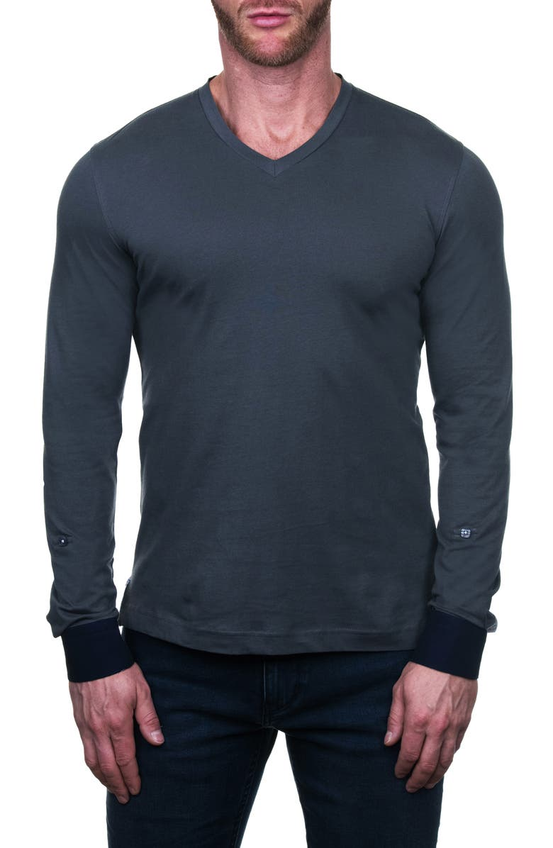 MACEOO Edison Regular Fit Letter Long Sleeve V-Neck T-Shirt, Main, color, 030