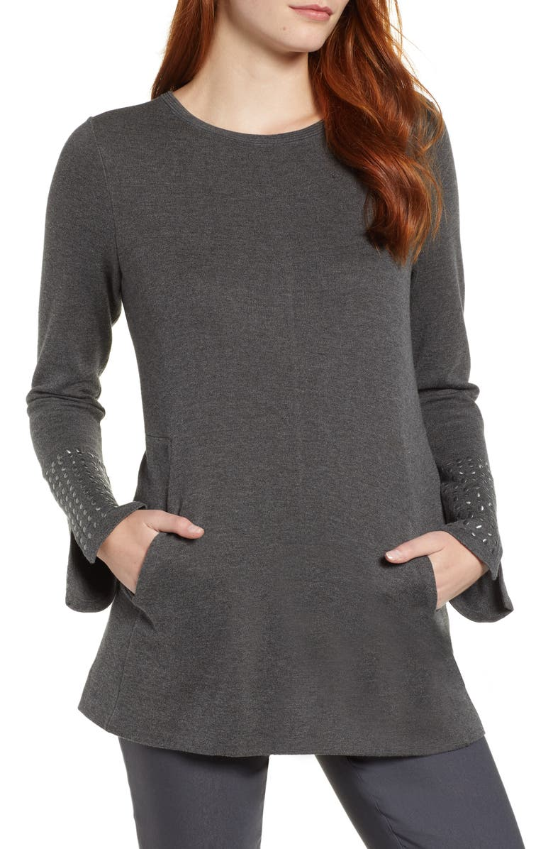 NIC+ZOE Studded Cuff Top, Main, color, GRAPHITE